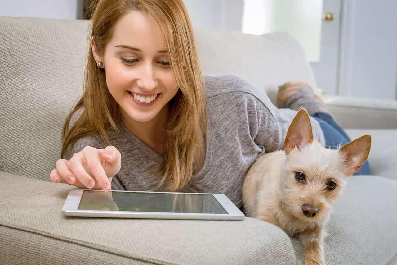 hund adoption mädchen entspannt mit hund auf der couch